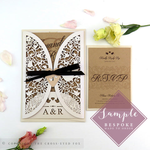 Vintage Love Birds | Sample Set Wedding Invitation & Jacket