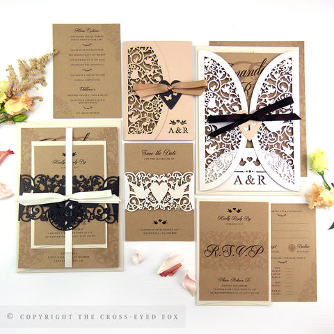 Vintage Love Birds | Sample Set Full Collection | Laser Cut Wedding Stationery