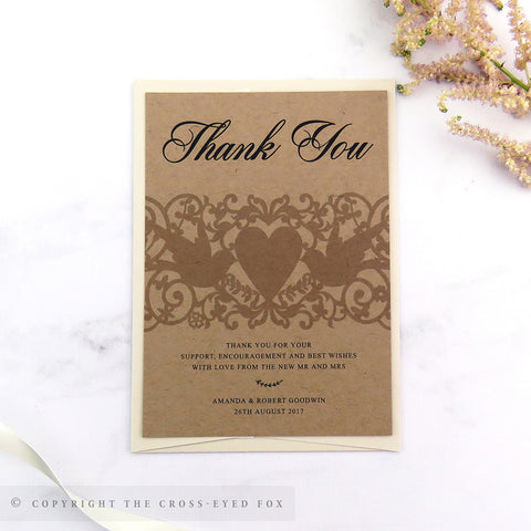 Vintage Love Birds Wedding Thank You Cards