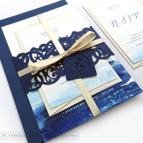 Nautical wedding invitations, laser cut wedding stationery, Nautical wedding