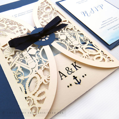 Nautical Wedding Invitation Gatefold Jacket