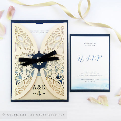 Nautical Laser Cut Wedding Stationery | Full Sample Suite