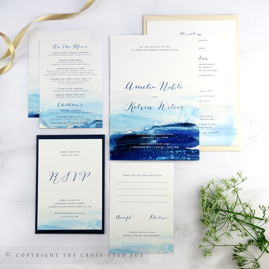 Nautical Wedding Invitations.Nautical Wedding Stationery Set The Cross Eyed Fox
