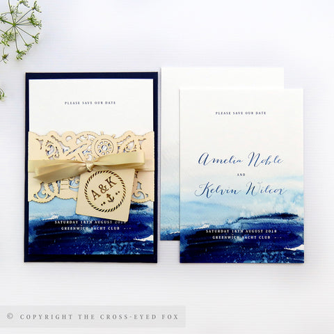 Nautical Wedding Invitation A6 Belly Band