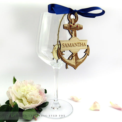 Nautical anchor wooden place setting