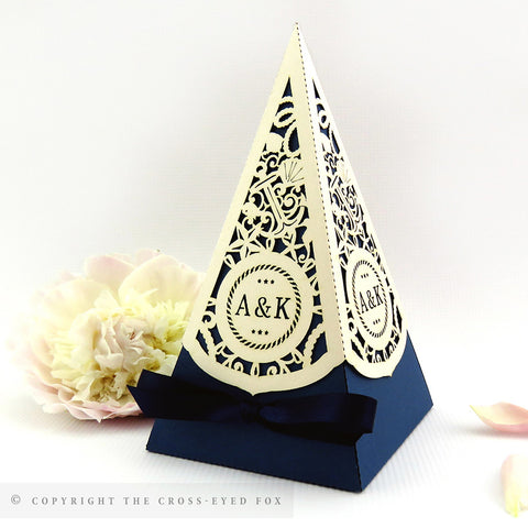 Nautical Pyramid Personalised Favour Boxes