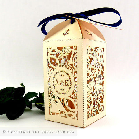Nautical Tall Personalised Favour/Bottle Boxes