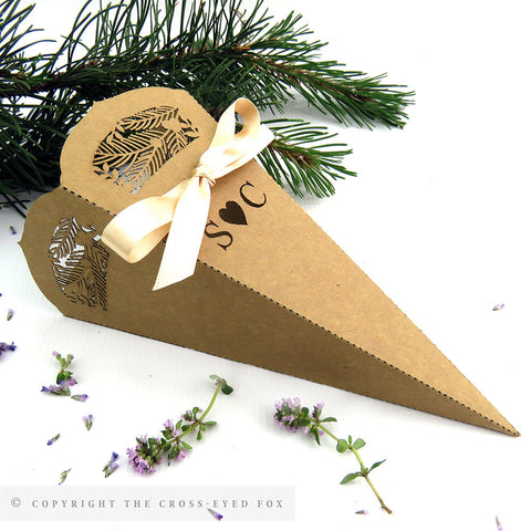 Rustic woodland wedding confetti cone, Laser cut confetti cone, Outdoor wedding table decor, Forest wedding, Rustic wedding decoration