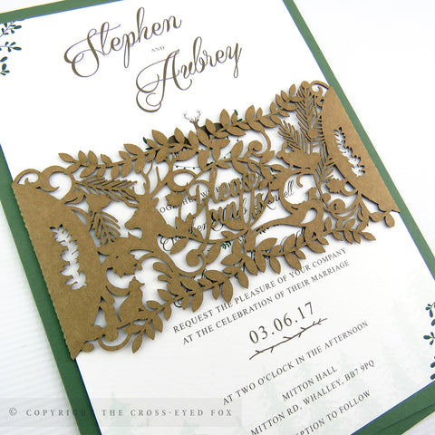 Rustic woodland wedding stationery, laser cut wedding invitation band