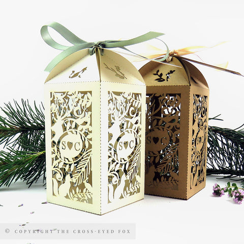 Rustic Woodland Tall Personalised Favour Boxes