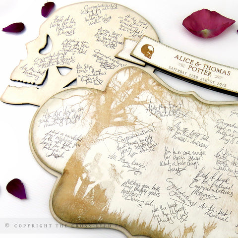 Wooden Skull Wedding Guest Book