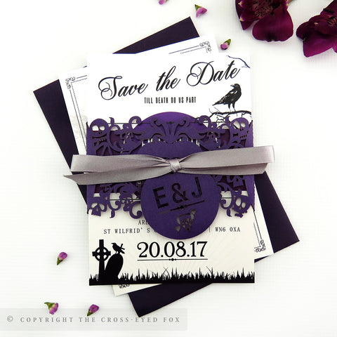 Gothic Skulls Wedding Invitation A6 Belly Band