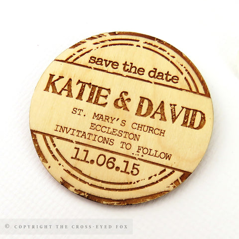 Vintage Badge Wooden Save the Date