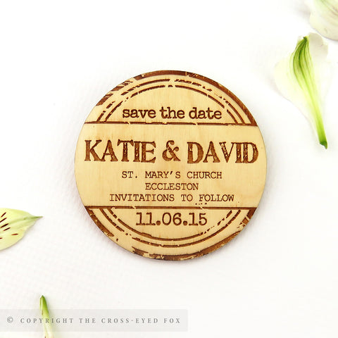 Wooden save the date magnet