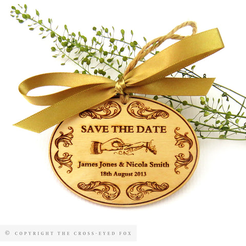 Vintage Floral Wooden Save the Date