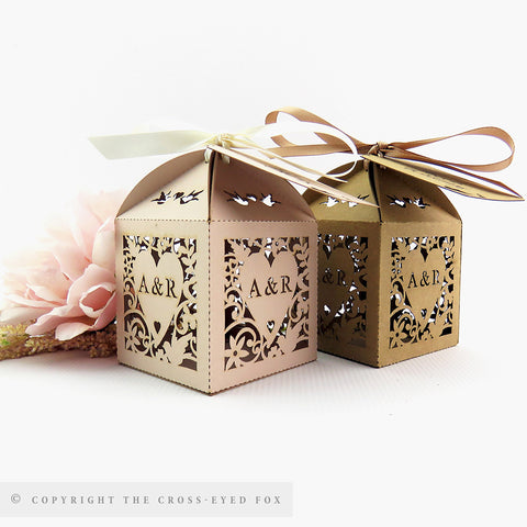 Vintage Love Birds Personalised Favour Boxes