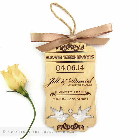 Vintage wooden save the date love birds inlay
