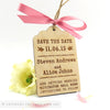 Vintage Luggage Tag Wooden Save the Date