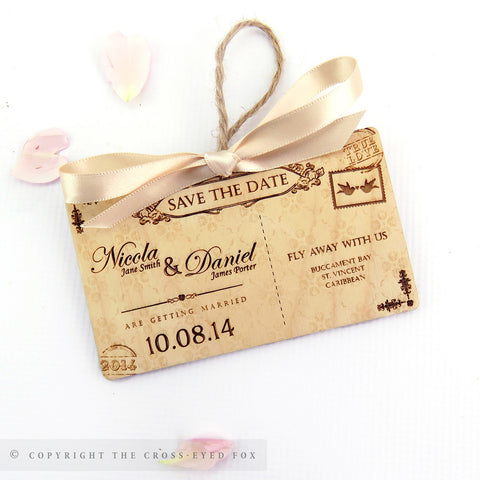 Vintage postcard wooden save the date
