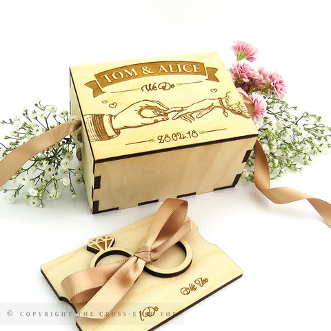 Vintage Wooden Wedding Ring Box