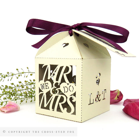 Mr & Mrs wedding favour boxes, laser cut personalised favour box