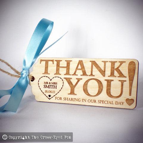Thank you wooden luggage tag