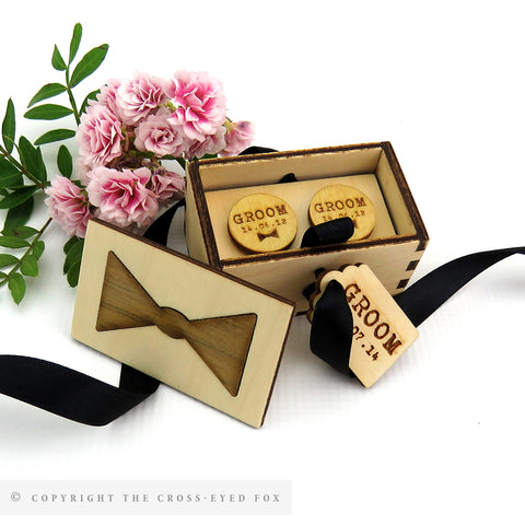 Wedding Cufflinks - Custom Engraved in Wooden Gift Box
