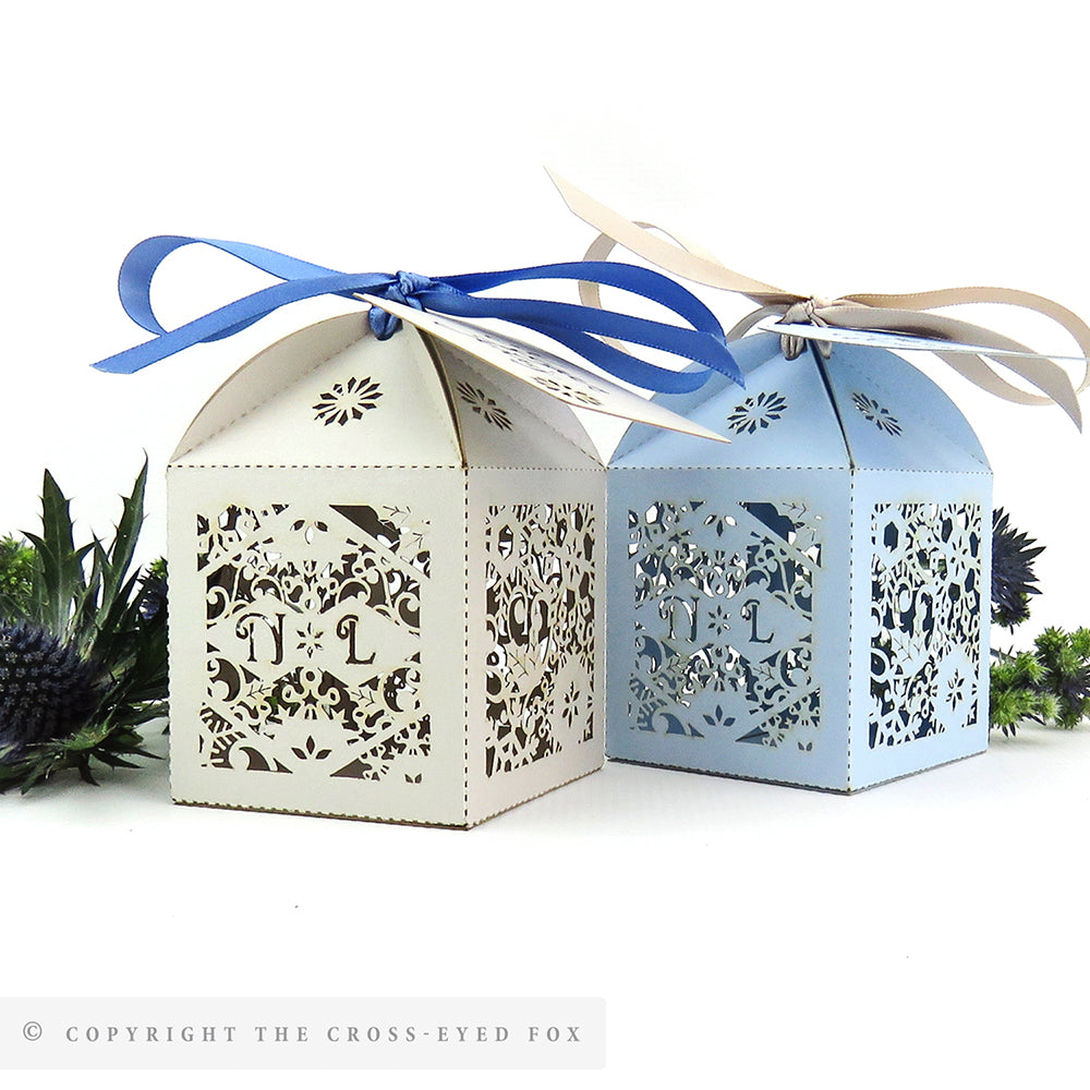Snowflake Winter Wedding Personalised Favour Boxes The Cross Eyed Fox