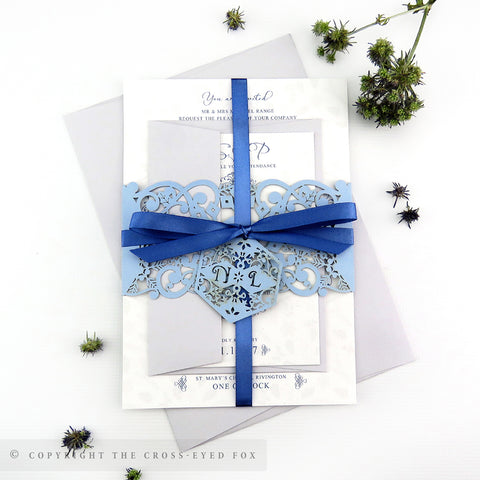 Winter Snowflakes Wedding Invitation A5 Belly Band