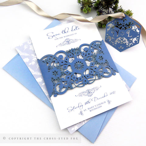 Winter wedding laser cut invitation band, Christmas wedding, Seasonal wedding