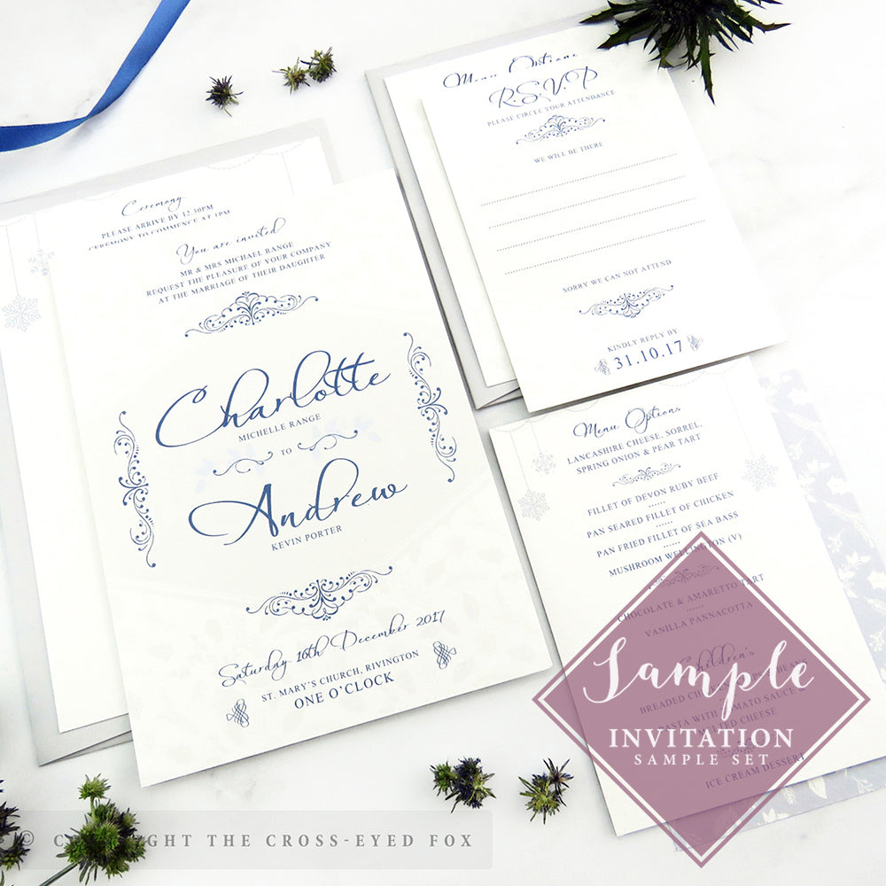 samples of wedding invitations winter wedding stationery set the cross eyed fox 7249
