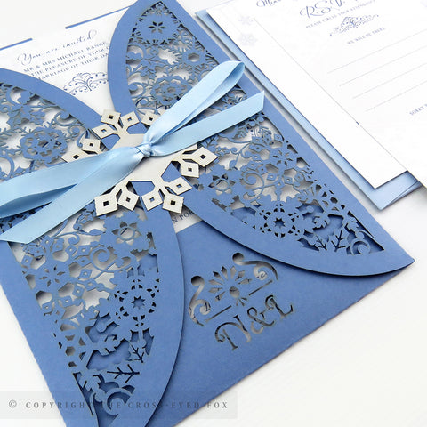 Winter Snowflakes Wedding Invitation Gatefold Jacket
