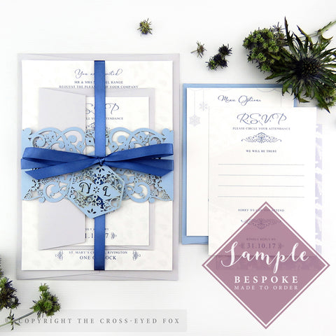 Winter Snowflakes | Sample Set Wedding Invitation & Belly Band