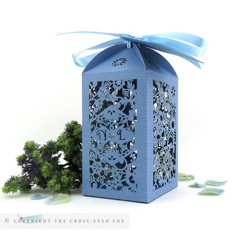 Winter Snowflake Tall Personalised Favour/Bottle Boxes