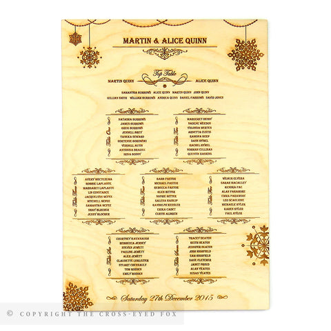 Winter Snowflakes Engraved Seating Plan