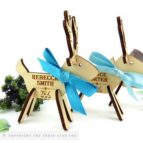 Reindeer Wooden Standing Place Setting