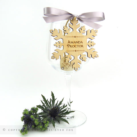 Snowflake wooden place setting