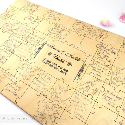 Faux Jigsaw Wooden Wedding Guest Book