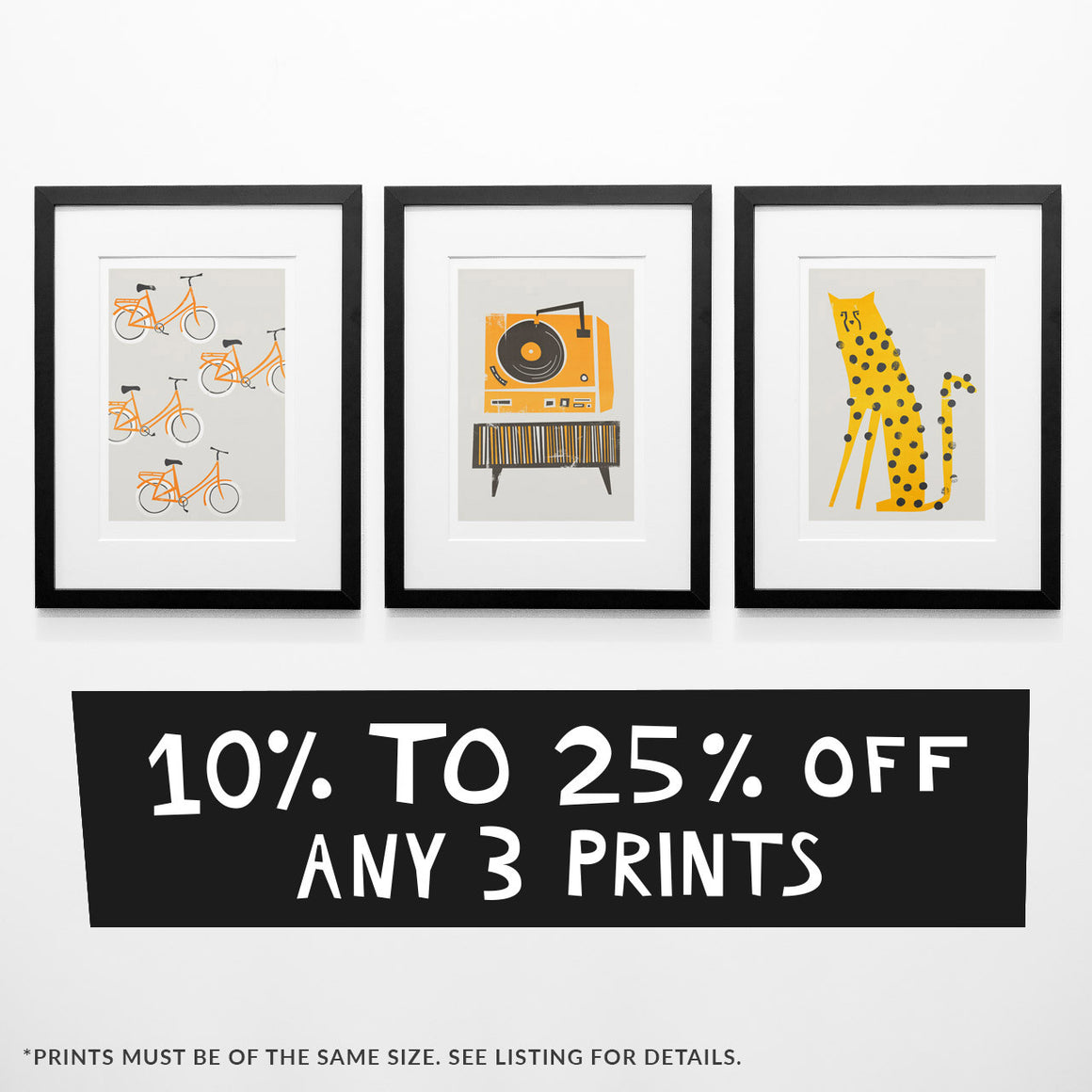Set of three discount offer by fox and velvet any three prints