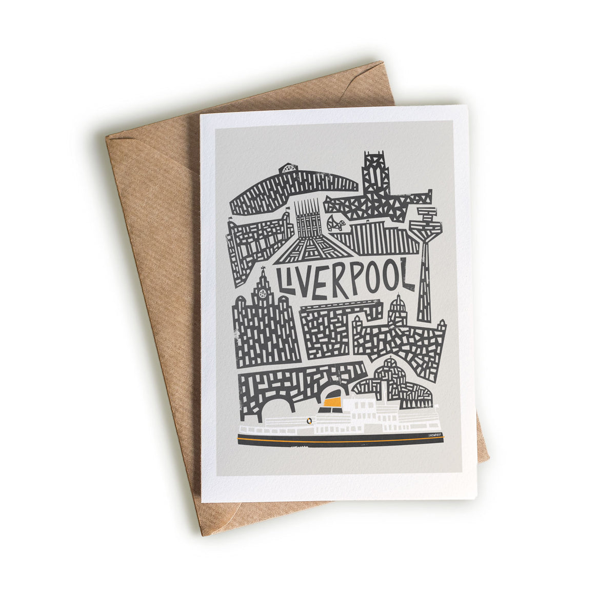 Liverpool Cityscape illustration greetings card by fox and velvet