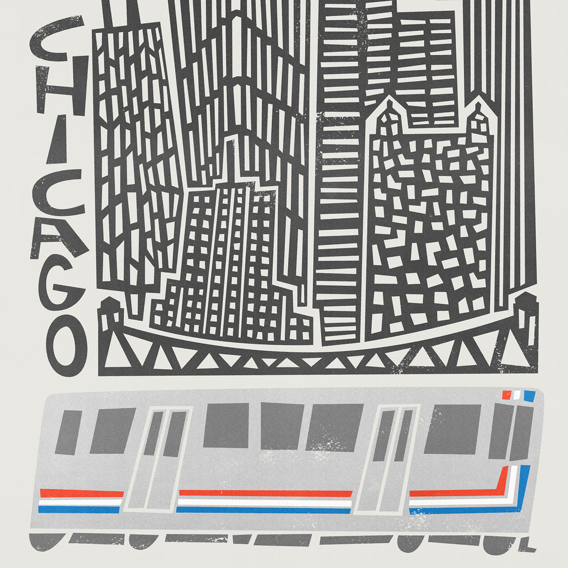 Chicago Cityscape illustration greetings card by fox and velvet