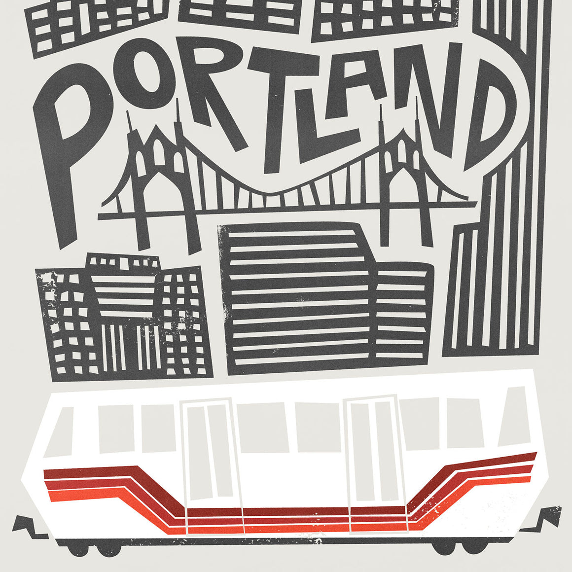 A mid century illustration of Portland city by Fox And Velvet