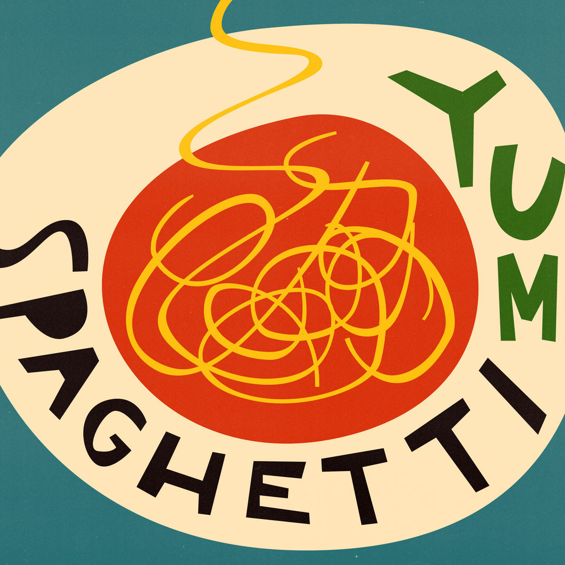Retro Spaghetti Food Illustration