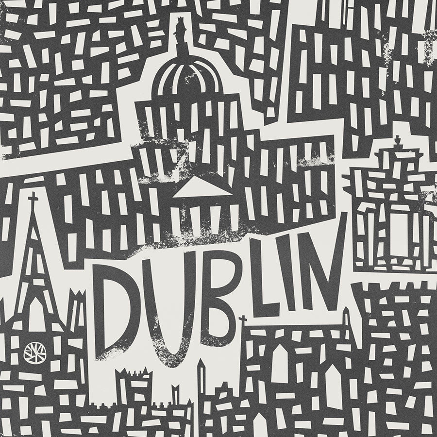 Dublin Cityscape illustration greetings card by fox and velvet