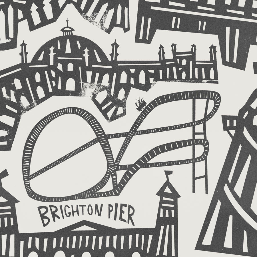 Brighton UK Cityscape illustration greetings card by fox and velvet