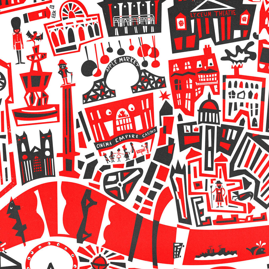 London Map Cityscape illustration art print by fox and velvet