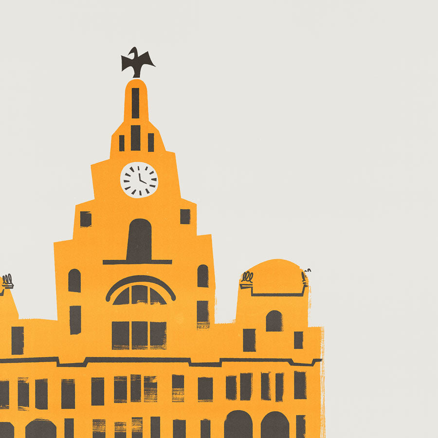 Liver building liverpool illustration art print by fox and velvet