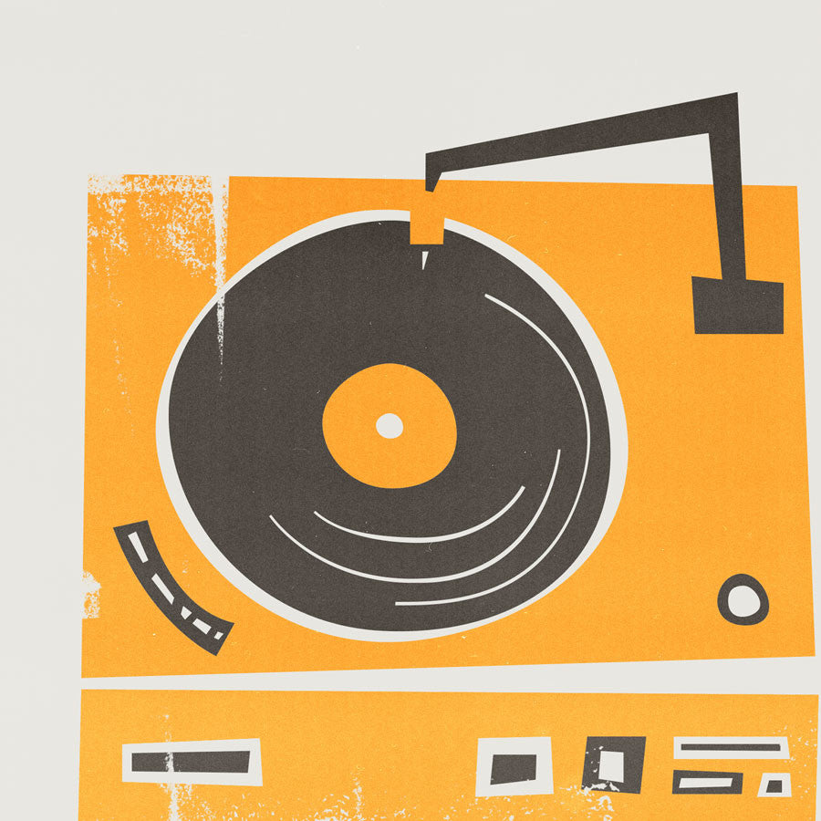 mounted vinyl record deck print