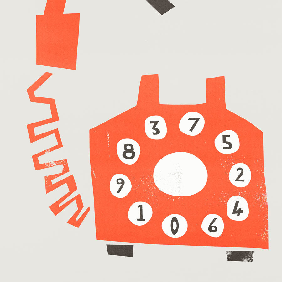 Mounted Retro telephone print