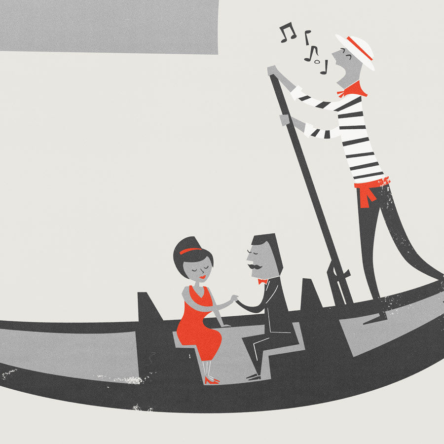 Venice Gondola illustration greetings card by fox and velvet